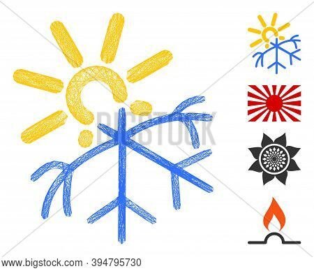 Vector Wire Frame Sun Melting Snowflake. Geometric Wire Frame 2d Network Based On Sun Melting Snowfl