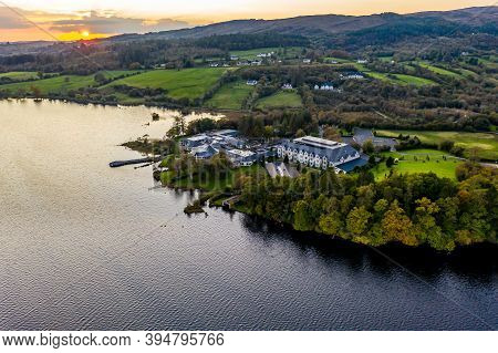 Aerial View Of The Lake Eske And Harveys Point In Donegal, Ireland