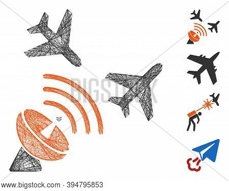 Vector Wire Frame Flight Radar. Geometric Wire Carcass 2d Network Generated With Flight Radar Icon,