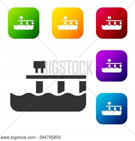 Black Beach Pier Dock Icon Isolated On White Background. Set Icons In Color Square Buttons. Vector