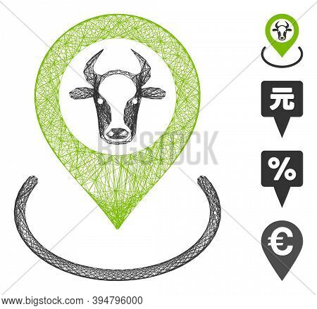 Vector Net Cow Location. Geometric Linear Frame 2d Net Generated With Cow Location Icon, Designed Wi