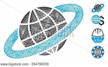 Vector Wire Frame Planetary Ring. Geometric Hatched Frame 2d Network Based On Planetary Ring Icon, D