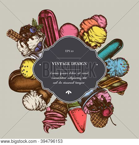 Badge Over Design With Ice Cream Bowls, Popsicle Ice Cream, Ice Cream Cones, Ice Cream Balls Stock I