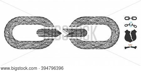 Vector Net Chain Break. Geometric Wire Carcass Flat Net Generated With Chain Break Icon, Designed Wi
