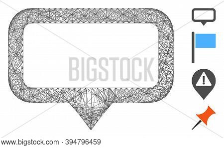 Vector Wire Frame Banner Map Marker. Geometric Wire Frame Flat Net Generated With Banner Map Marker