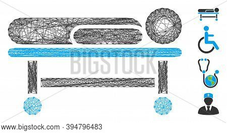 Vector Wire Frame Patient Stretcher. Geometric Wire Frame Flat Net Made From Patient Stretcher Icon,