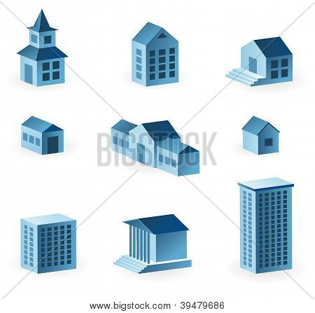Set Of 9 House Icons