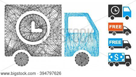 Vector Wire Frame Shipment Schedule Van. Geometric Wire Frame Flat Network Made From Shipment Schedu