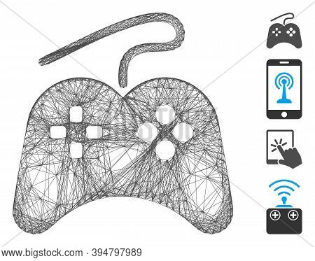 Vector Wire Frame Gamepad. Geometric Wire Carcass 2d Network Made From Gamepad Icon, Designed From C