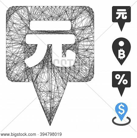 Vector Network Yuan Map Pointer. Geometric Wire Carcass Flat Network Made From Yuan Map Pointer Icon