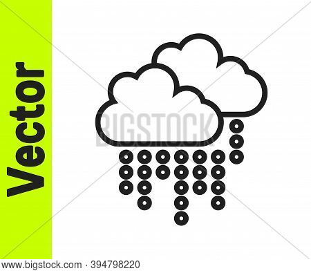 Black Line Cloud With Rain Icon Isolated On White Background. Rain Cloud Precipitation With Rain Dro