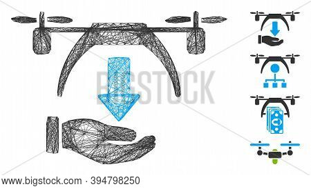Vector Network Unload Drone. Geometric Linear Frame 2d Network Generated With Unload Drone Icon, Des