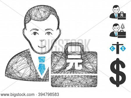 Vector Net Yuan Renminbi Accounter. Geometric Wire Carcass 2d Net Made From Yuan Renminbi Accounter