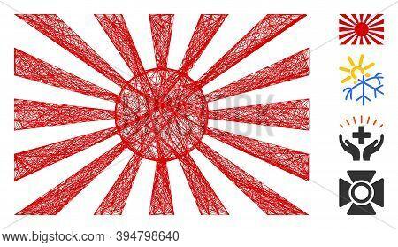 Vector Network Japanese Rising Sun. Geometric Hatched Frame 2d Network Made From Japanese Rising Sun