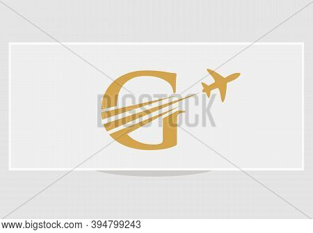 Creative Air Travel Logo Design With G Letter. G Letter Concept Air Plane And Travel Logo.