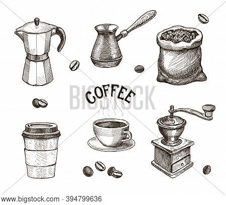 Hand Drawn Coffee Set. Coffee Mill, Kettle, Roasted Beans In Sack Sketch, Cap Of Espresso Or Capuchi