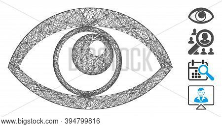 Vector Network Eye. Geometric Linear Carcass 2d Network Generated With Eye Icon, Designed With Cross