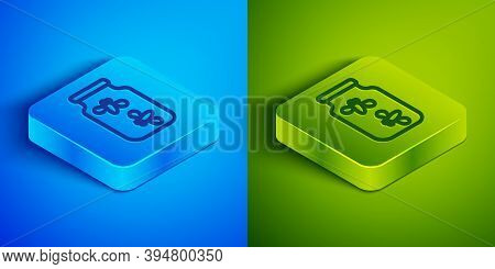 Isometric Line Fireflies Bugs In A Jar Icon Isolated On Blue And Green Background. Square Button. Ve