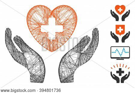 Vector Wire Frame Cardiology Care Hands. Geometric Wire Frame Flat Network Made From Cardiology Care
