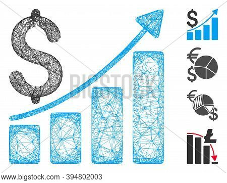 Vector Wire Frame Sales Growth Chart. Geometric Wire Frame 2d Net Generated With Sales Growth Chart