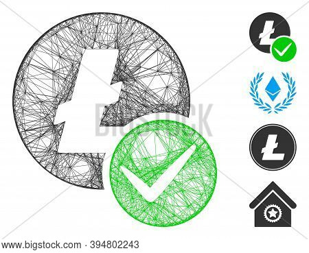 Vector Network Valid Litecoin. Geometric Linear Carcass Flat Network Generated With Valid Litecoin I