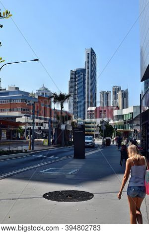 Street In Gold Coast And Modern Skyscrapers On The Background