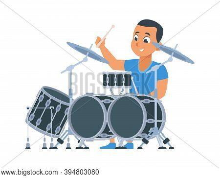 Drummer. Cartoon Boy With Percussion Musical Instruments. Cute Young Man Playing Drums. Member Of Ro