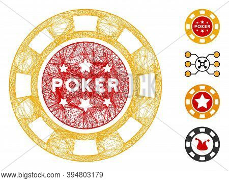 Vector Wire Frame Poker Casino Chip. Geometric Wire Frame 2d Network Made From Poker Casino Chip Ico