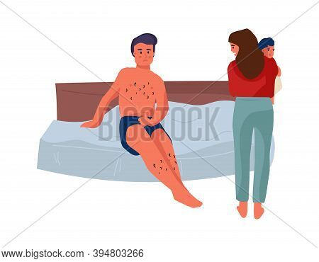Family Conflict. Cartoon Man And Woman With Little Kid In Bedroom. Disagreements Between Husband And