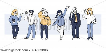 People Greetings. Happy Cartoon Men And Women Cheerfully Waving Hands And Smiling, Diverse People In