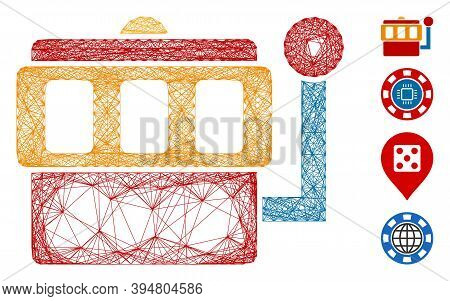 Vector Wire Frame One-armed Bandit. Geometric Wire Frame 2d Network Generated With One-armed Bandit