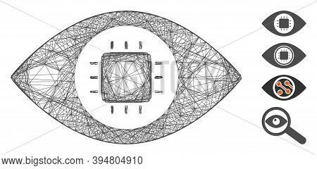 Vector Network Bionic Eye Circuit. Geometric Hatched Frame 2d Network Generated With Bionic Eye Circ