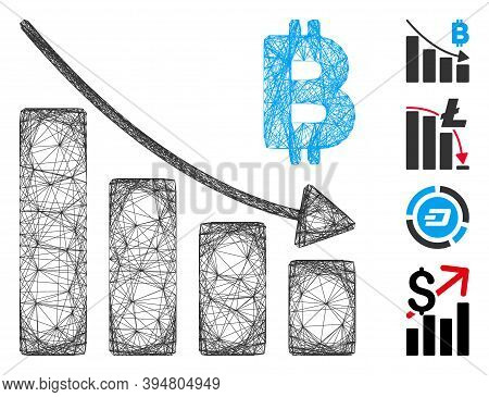 Vector Net Bitcoin Recession Bar Chart. Geometric Hatched Frame 2d Net Made From Bitcoin Recession B