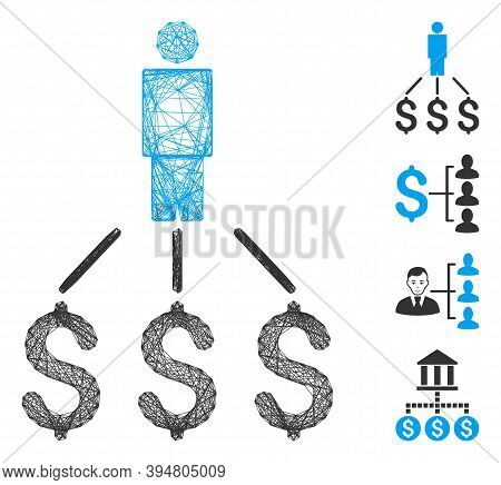 Vector Wire Frame Person Expenses. Geometric Linear Frame 2d Network Made From Person Expenses Icon,