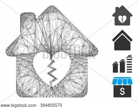 Vector Network Divorce House Heart. Geometric Wire Carcass 2d Network Generated With Divorce House H