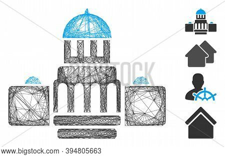Vector Network Government Buildings. Geometric Linear Frame 2d Network Generated With Government Bui