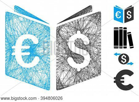 Vector Net Currency Book. Geometric Hatched Frame Flat Net Generated With Currency Book Icon, Design