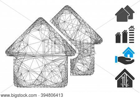 Vector Wire Frame Village. Geometric Hatched Frame Flat Network Made From Village Icon, Designed Fro