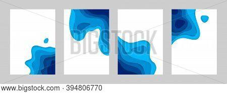 Paper Cut Sea Posters. 3d Ocean Banners With Papercut Minimal Gradient Layout, Blue Origami Geometri
