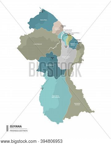 Guyana Higt Detailed Map With Subdivisions. Administrative Map Of Guyana With Districts And Cities N