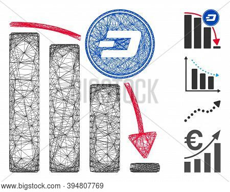 Vector Wire Frame Dashcoin Epic Fail Chart. Geometric Wire Frame Flat Net Generated With Dashcoin Ep