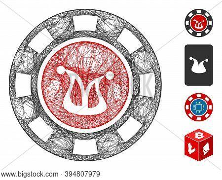 Vector Network Joker Casino Chip. Geometric Wire Frame 2d Network Generated With Joker Casino Chip I