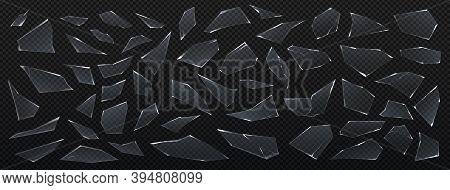 Glass Pieces. Realistic Sharp Shards, 3d Isolated Parts Of Broken Window On Transparent Background.
