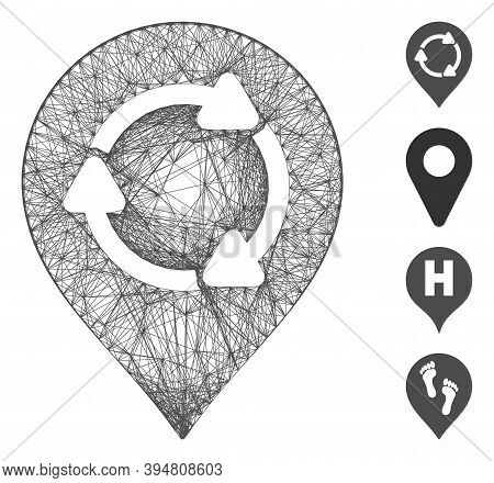 Vector Network Rotation Map Marker. Geometric Linear Frame 2d Network Generated With Rotation Map Ma