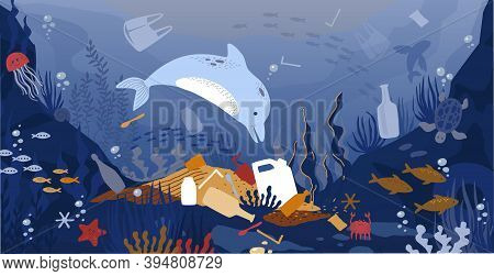 Sea Garbage. Marine Animals Floating In Dirty Water With Waste And Plastic Rubbish. Global Environme