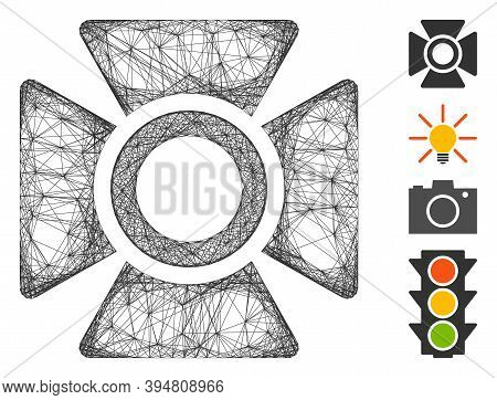 Vector Wire Frame Searchlight. Geometric Hatched Frame Flat Net Generated With Searchlight Icon, Des