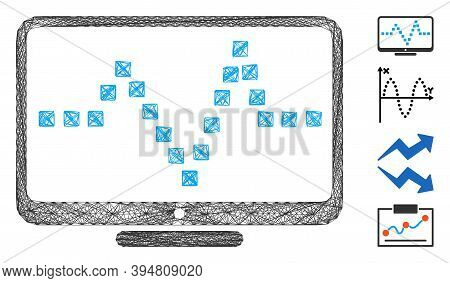 Vector Network Pulse Monitoring. Geometric Wire Frame 2d Network Based On Pulse Monitoring Icon, Des