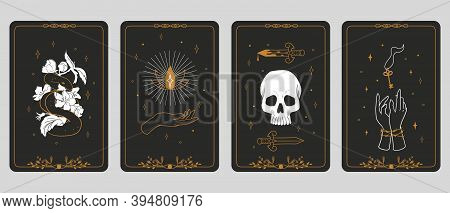 Tarot Cards. Magic Boho Banners. Vintage Spiritual Signs, Mystic Or Esoteric Symbols. Fortune Tellin