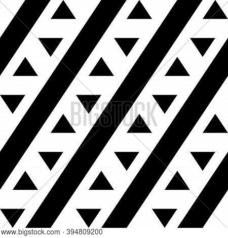 Seamless Vector. Diagonal Lines, Triangles Ornament. Triangular Shapes, Tilted Stripes Wallpaper. Fo