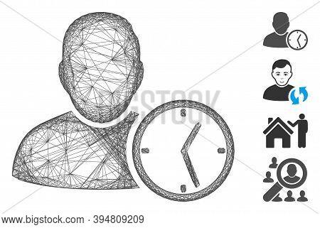 Vector Net User Temporary Clock. Geometric Wire Carcass 2d Net Generated With User Temporary Clock I